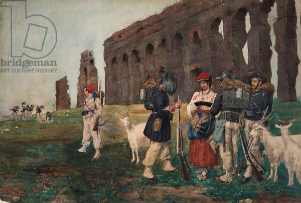 Bersaglieri in the countryside with peasasnt girl and goats, 1879 (w/c on paper)