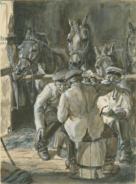 German cavalrymen, World War One, 1916 (w/c on paper)