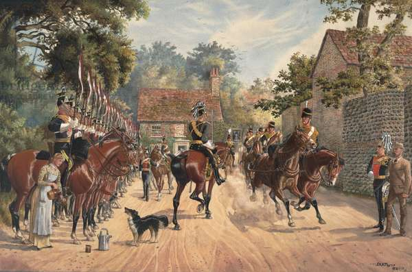 9th Queen's Royal Lancers and the Royal Horse Artillery in a country village, 1881 (w/c on paper)