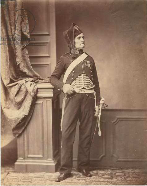 M. Schmidt of the 2nd Mounted Chasseur Regiment of 1813-14, 1860 (b/w photo)