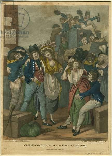 Men of War, bound for the Port of Pleasure, 1791 (colour mezzotint)