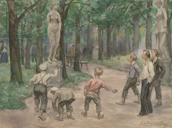 Sporting competition in the Imperial Gardens, Petrograd, July 1921 (w/c on paper)