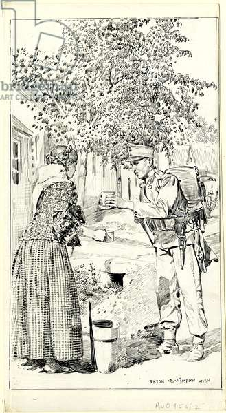 Infantryman accepting cup of water from peasant woman (ink on paper)