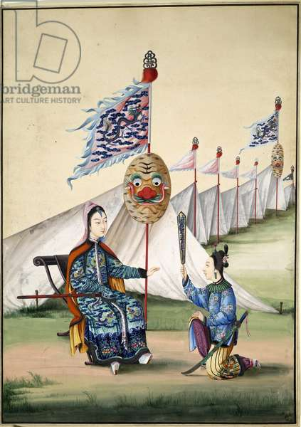 Chinese General and his Wife, c.1810 (gouache on paper)