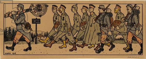 French soldiers leading German prisoners, 1915 (coloured print)