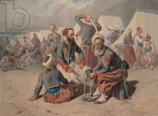 Zouaves in Camp, 1865 (w/c on paper)