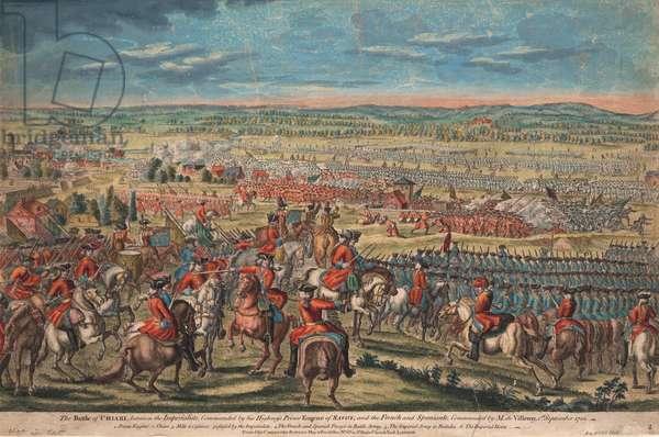The Battle of Chiari, 1701-02 (coloured engraving)