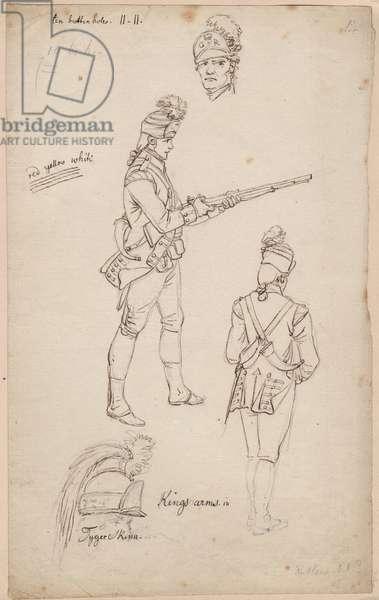 British Infantry Uniform sketch, c.1778 (pencil & ink on paper)