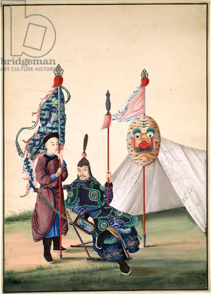 Chinese General with Standard-Bearer, c.1810 (gouache on paper)