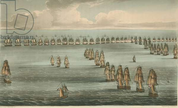 Commencement of the Battle of Trafalgar, 1805 (coloured aquatint)