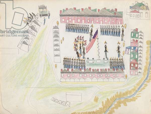 Bird's eye view of US military assembly at Fort Marion, Florida, 1877 (coloured pencil & w/c on paper)