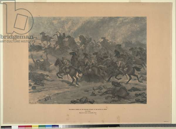 The heroic charge of the English cavalry at the battle of Mons, 1914 (colour litho)