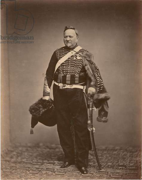 Quartermaster Sergeant Delignon in the uniform of a Mounted Chasseur of the Guard of 1809-1815, 1860 (b/w photo)