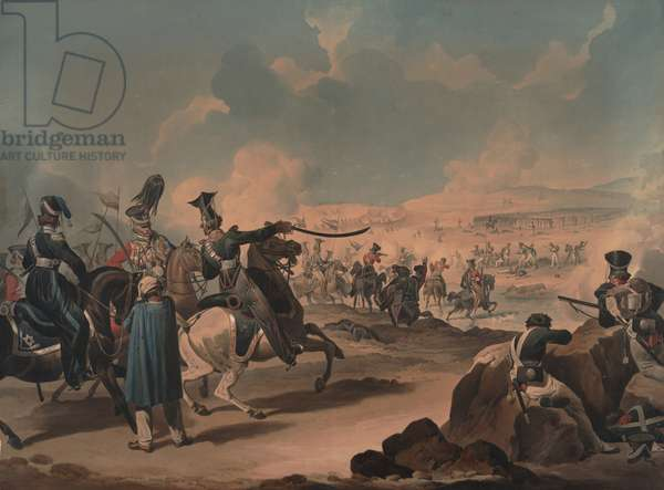 Russian cavalry attacking French infantry at Borodino, 1812 (w/c on paper)