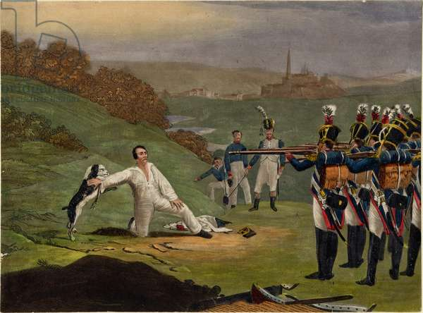 French military execution, c.1812 (coloured engraving)