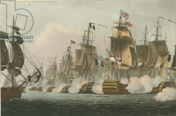 Battle of Trafalgar, 1805 (coloured aquatint)