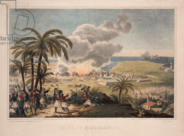 The Siege of Missolonghi, 1829 (colour litho)