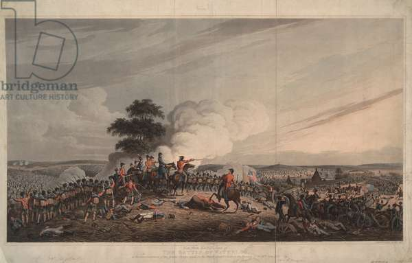 View from Mont St Jean of the Battle of Waterloo, 1816 (coloured aquatint)