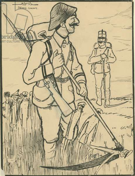 Turkish soldier with Austro-Hungarian ally (litho)