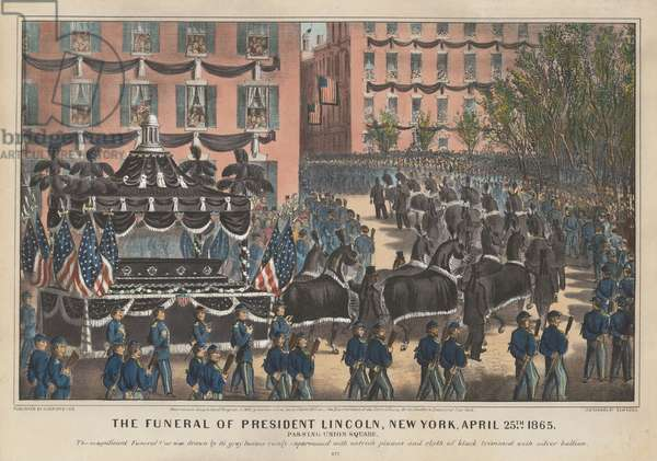 Funeral of President Lincoln, New York, April 25th 1865 (colour litho)