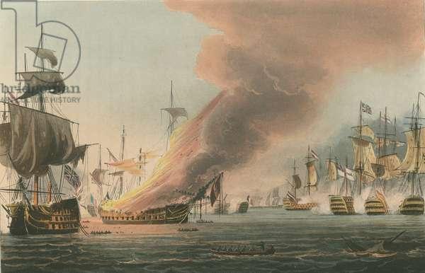 Battle of Trafalgar, 1805 (coloured aquatint)