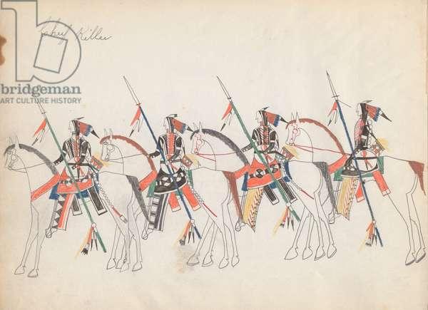 Four Cheyenne Horsemen, 1877 (coloured pencil on paper)