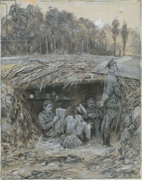 Royal Field Artillery officers relaxing in a dugout (wash on paper)