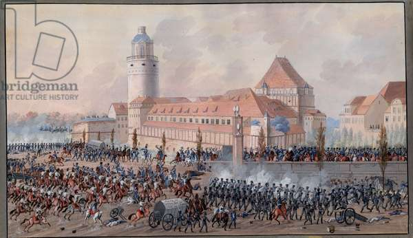 View of Peters Thor in Leipzig, 19th October 1813 (gouache on paper)