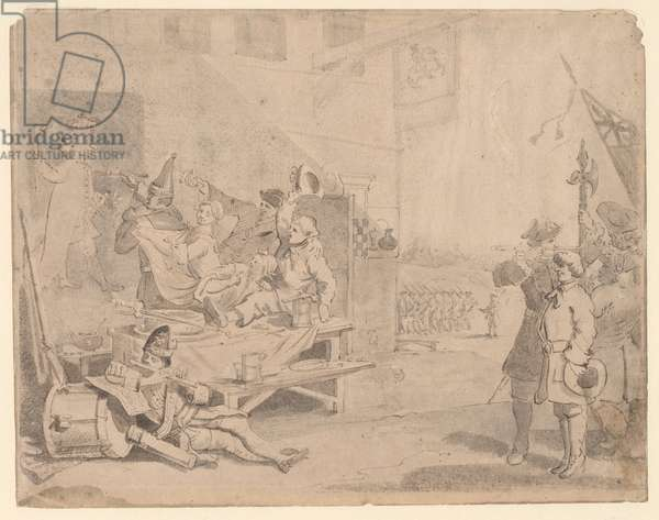 England Plate 2nd, preparatory drawing, 1756 (ink & wash on paper)