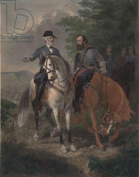 Last Meeting between Generals Lee and Jackson, 1872 (coloured engraving)