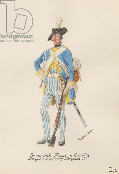 Brunswick Troops in Canada, Dragoon Regiment, Dragoon of 1777, 1949 (w/c on paper)