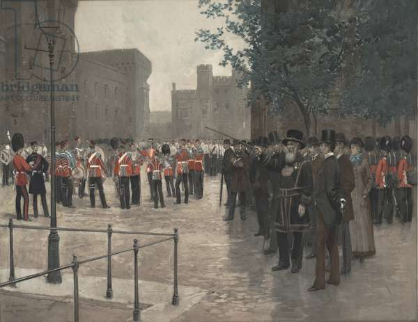The Grenadier Guards, Tower of London, 1880 (colour photogravure)