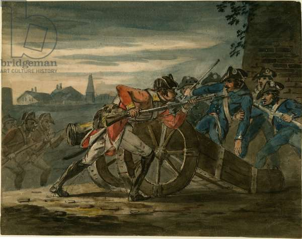 British infantry attacking a gun crew during the campaign in Holland, c.1799 (w/c on paper)