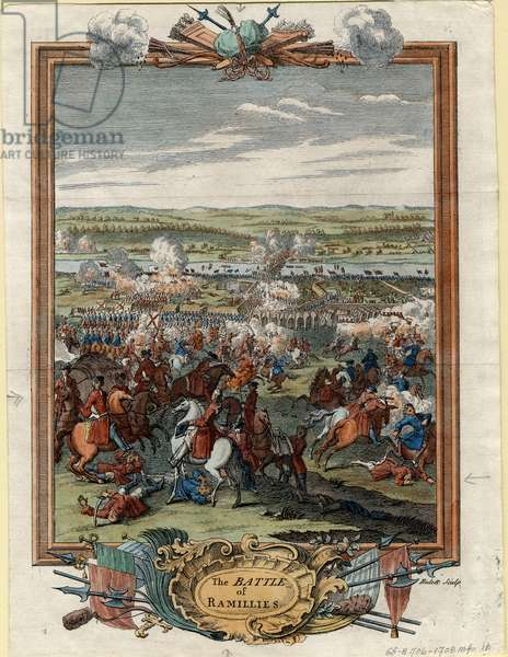 Battle of Ramillies, 1706 (coloured engraving)