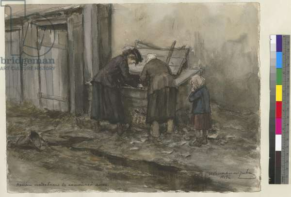 Two woman digging through a trash bin while a child stands next to them, 1919 (w/c on paper)