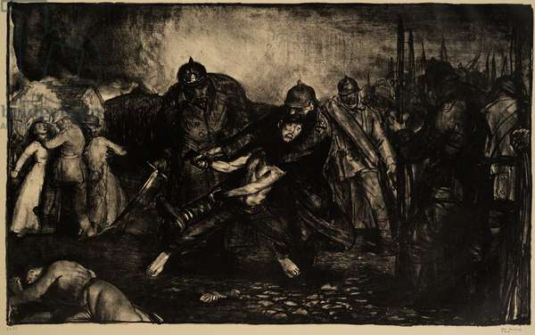 The Germans Arrive, 1918 (litho)