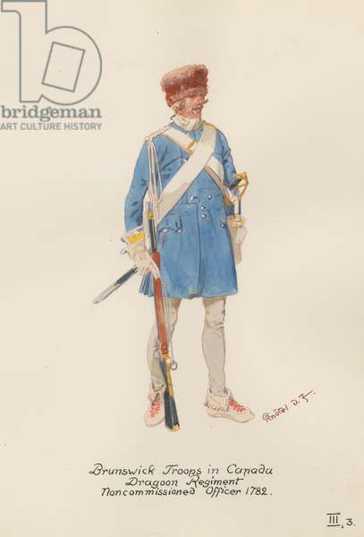 Brunswick Troops in Canada, Dragoon Regiment, Non-commissioned Officer of 1782, 1949 (w/c on paper)