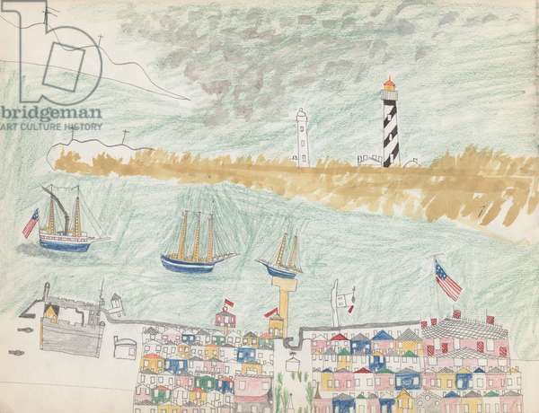 Florida Seacoast Town, 1877 (coloured pencil & w/c on paper)