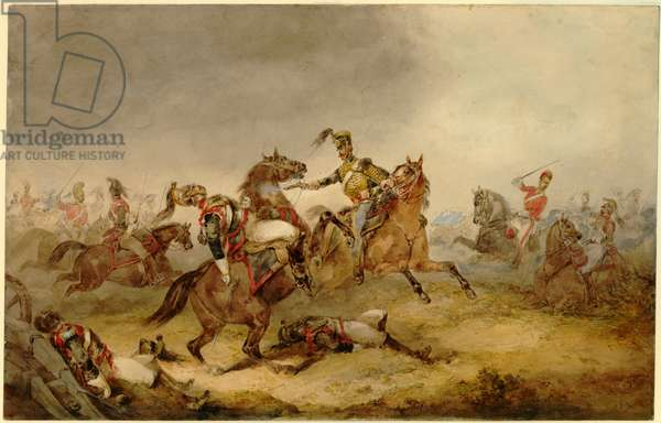 Heavy Cavalry at the Battle of Waterloo, 18th June 1815, 1870 (w/c on paper)