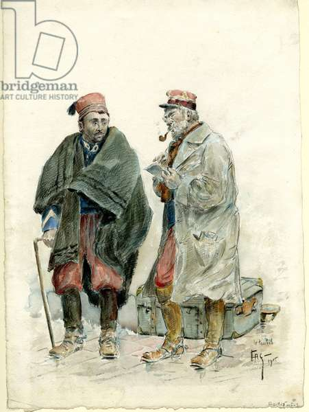 French chasseur and medical officer, 1915 (pencil & w/c on paper)