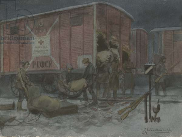 Soldiers unloading railcars, 1922 (w/c on paper)