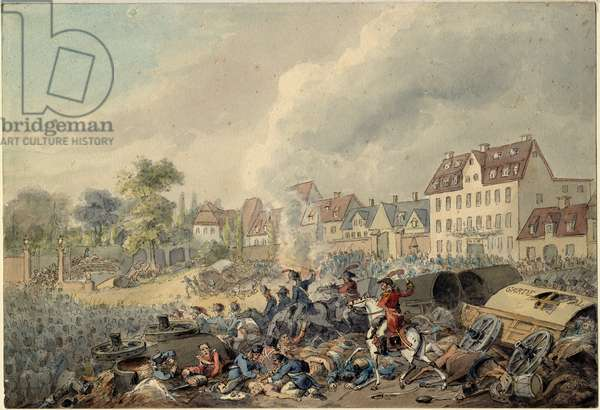 Pursuit of the French through Leipzig, 1813 (w/c on paper)