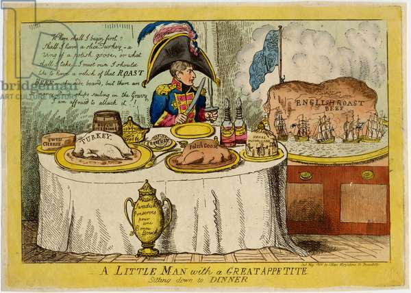 A little man with a great appetite sitting down to dinner, published by I. Hays, c.1806 (colour litho)
