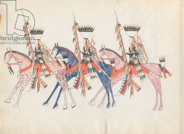 Three Cheyenne Horsemen, 1877 (coloured pencil on paper)