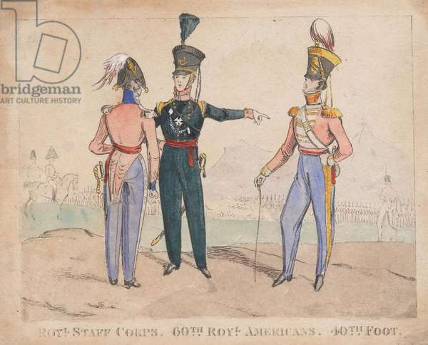 Royal Staff Corps, 60th Royal Americans, 40th Foot, 1828 (coloured engraving)