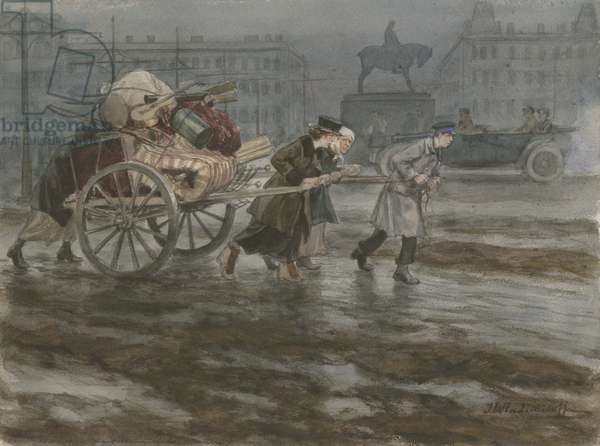 Family moving its belongings on a cart, 1917-22 (w/c on paper)