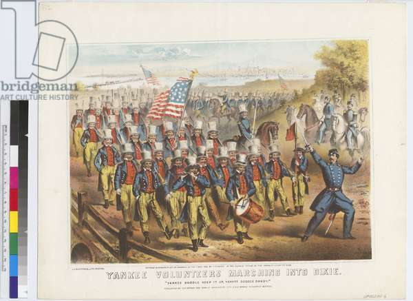 Yankee Volunteers Marching into Dixie, 1862 (colour litho)