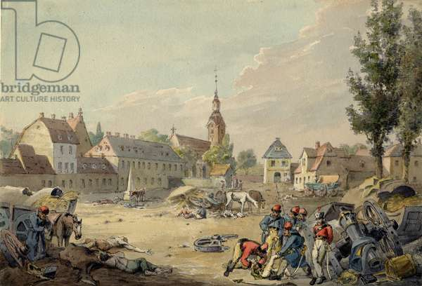 View of the Grimma Suburb, Leipzig, 1813 (w/c on paper)
