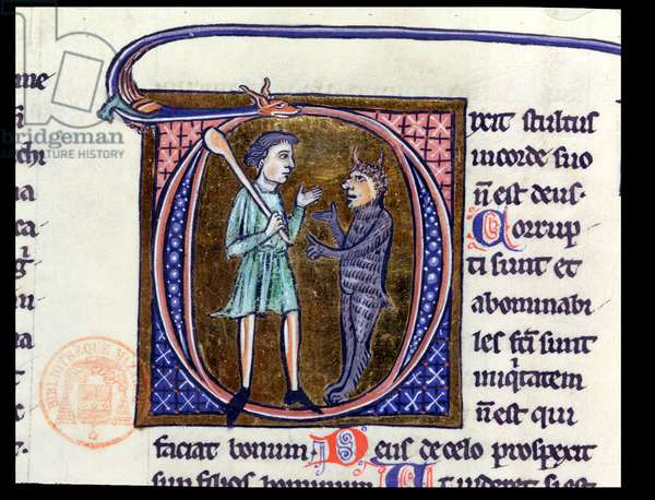 Ms 36 Historiated initial 'D' depicting a man with the devil, from a Latin bible (vellum)