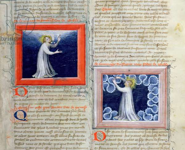 Ms 313 God separating the light from the darkness (on the left) and creating the firmament (on the right), from the Bible des Grands Augustins, 1494 (vellum)